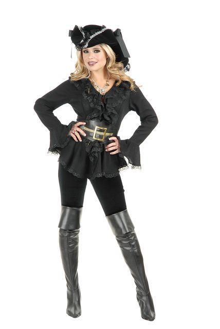 Pirate South Sea's Black BLOUSE w/ BELT Adult Costume