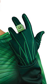 Green Lantern Adult Gloves & Light Up Ring