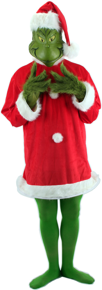 Santa Grinch Adult Deluxe Costume with Mask Size L/XL
