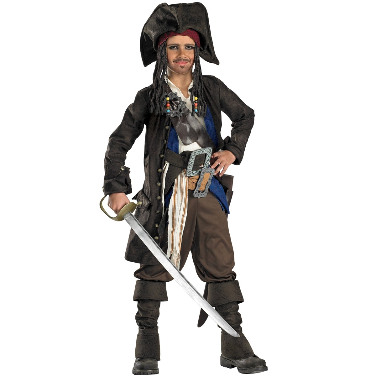 Pirates Captain Jack Sparrow Prestige Premium Child Costume