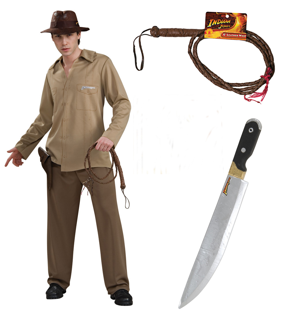 Indiana Jones Adult Costume STD, XL + Leather Whip + Machette