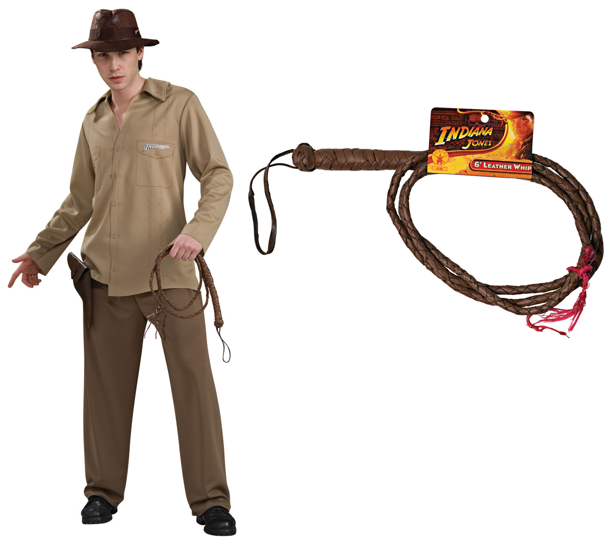 Indiana Jones Adult Costume STD, XL + Leather Whip
