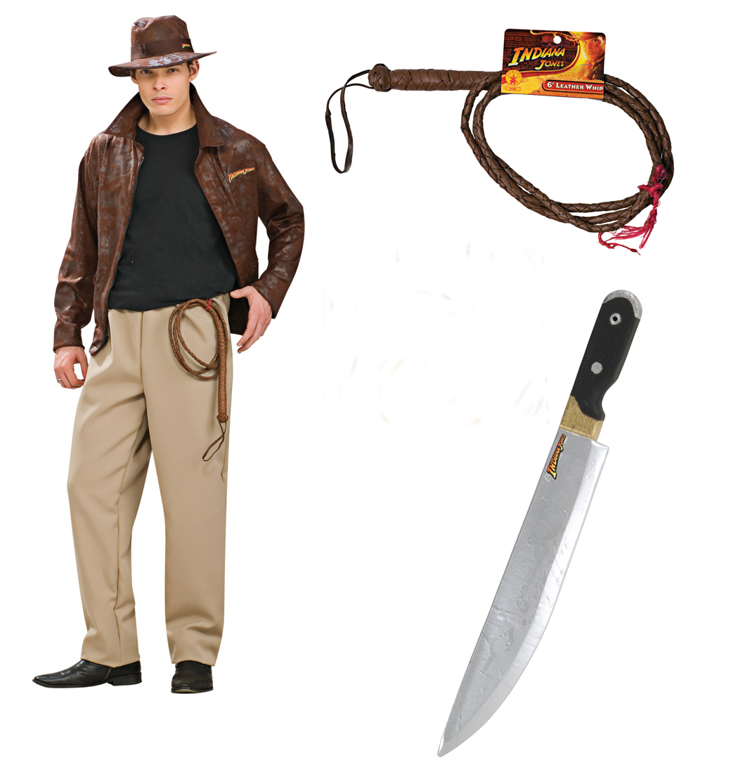 Indiana Jones Adult Deluxe Costume STD, XL + Whip + Machette