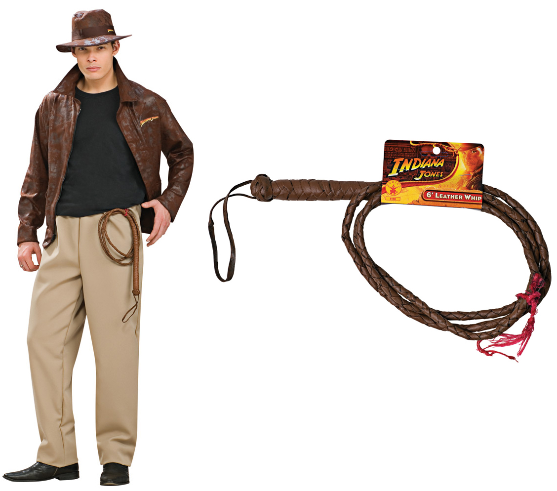 Indiana Jones Adult Deluxe Costume STD, XL + Leather Whip