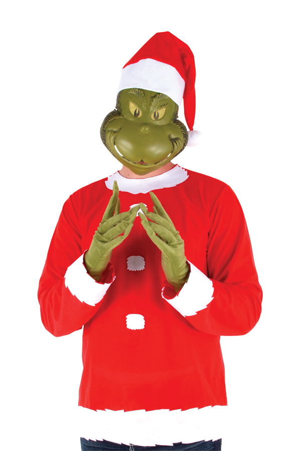 Santa Grinch Adult Costume with Mask & Hat Size L/XL