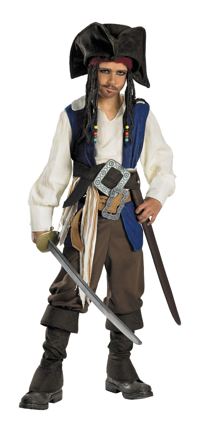Disney Jack Sparrow Deluxe Costume Child S,M,L